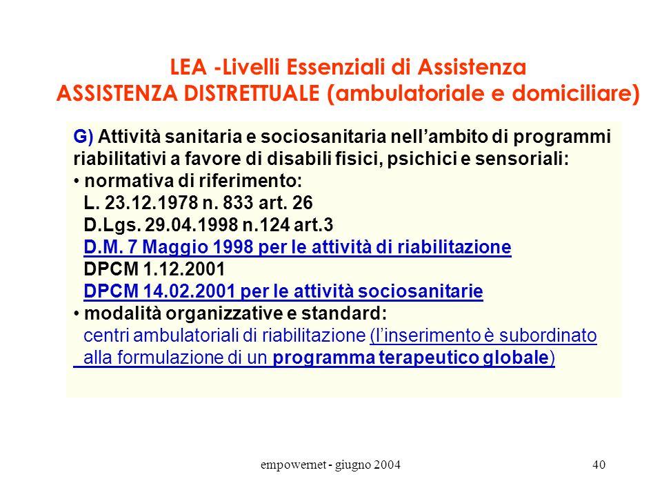 empowernet - giugno 200439 Art. 2 DPCM 14.02.2001 Atto ind.coord. integrazione sociosanitaria (art. 3 septies D.Lgs.502/92) La redazione del progetto