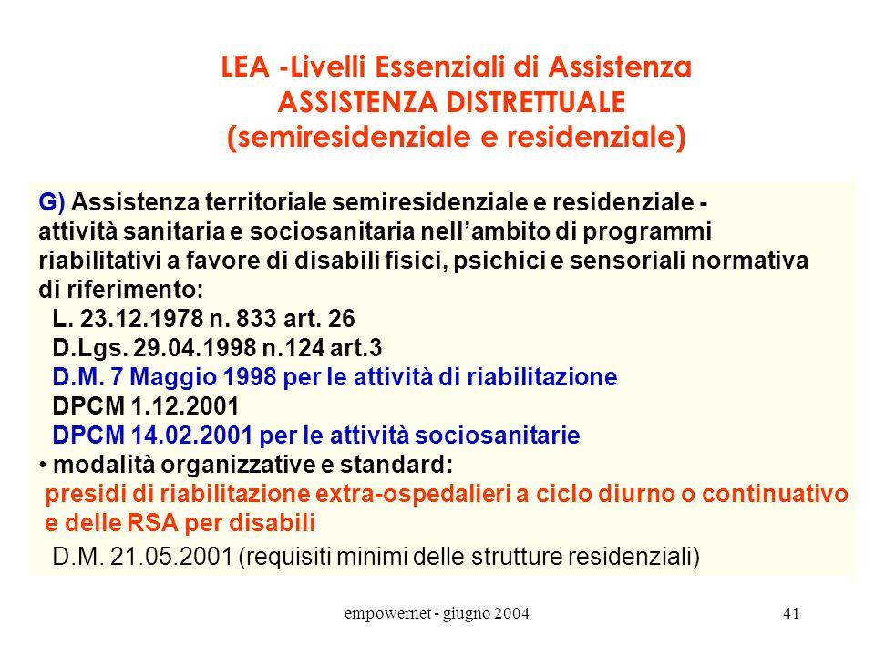 empowernet - giugno 200440 G) Attività sanitaria e sociosanitaria nellambito di programmi riabilitativi a favore di disabili fisici, psichici e sensor