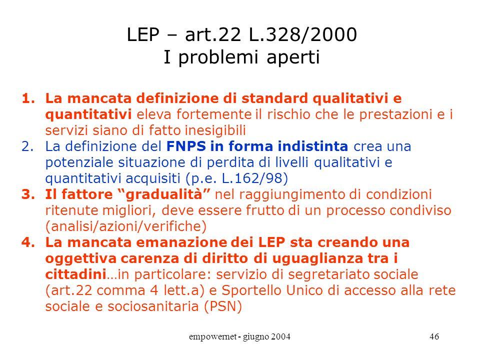 empowernet - giugno 200445 LEA -Livelli Essenziali di Assistenza - Linee Guida di Riabilitazione - DM 07.05.1998 ALCUNI CONCETTI E DEFINIZIONI i livel