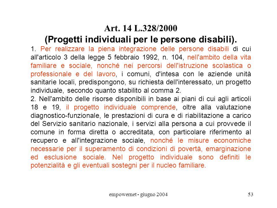 empowernet - giugno 200452 Ddl per listituzione del Fondo per la Non Autosufficienza persona non autosufficiente = a seguito di minorazione singola o