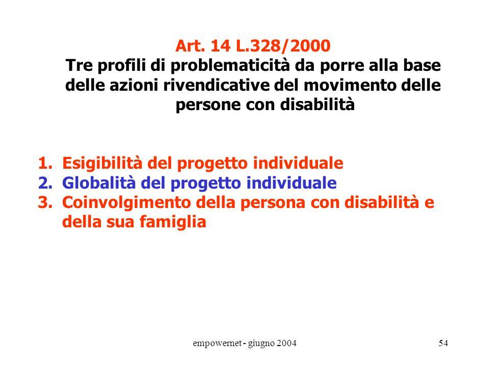 empowernet - giugno 200453 Art. 14 L.328/2000 (Progetti individuali per le persone disabili). 1. Per realizzare la piena integrazione delle persone di