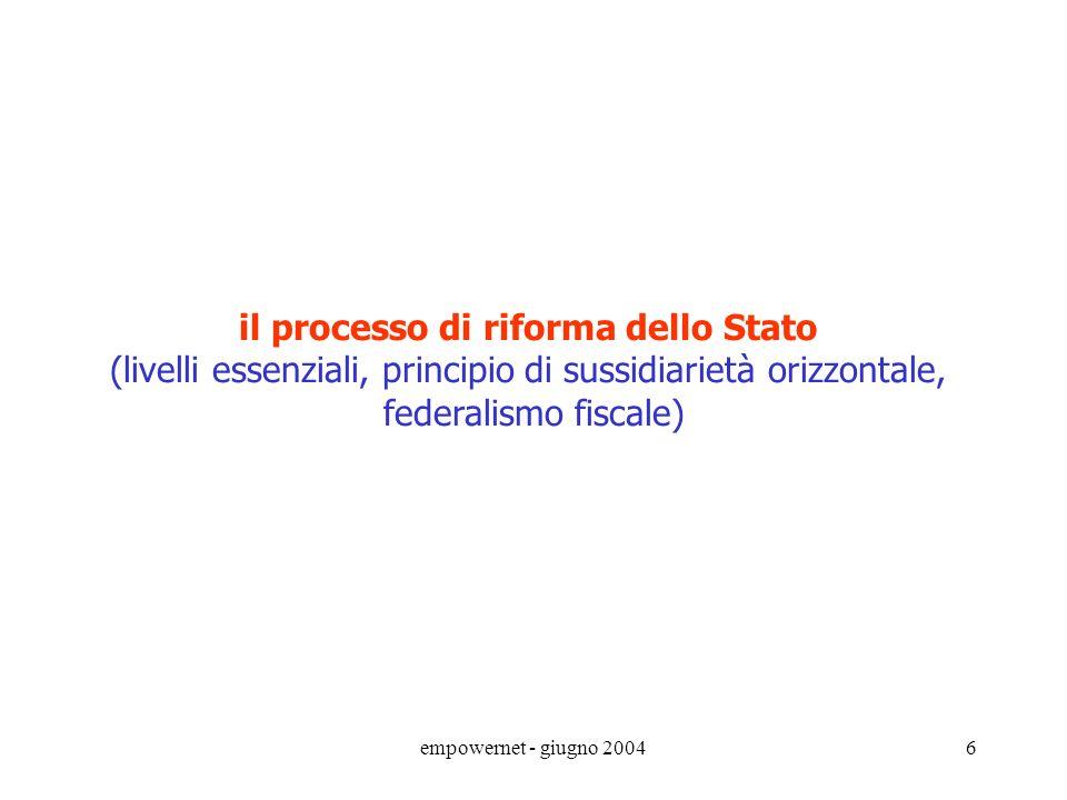 empowernet - giugno 20046 il processo di riforma dello Stato (livelli essenziali, principio di sussidiarietà orizzontale, federalismo fiscale)