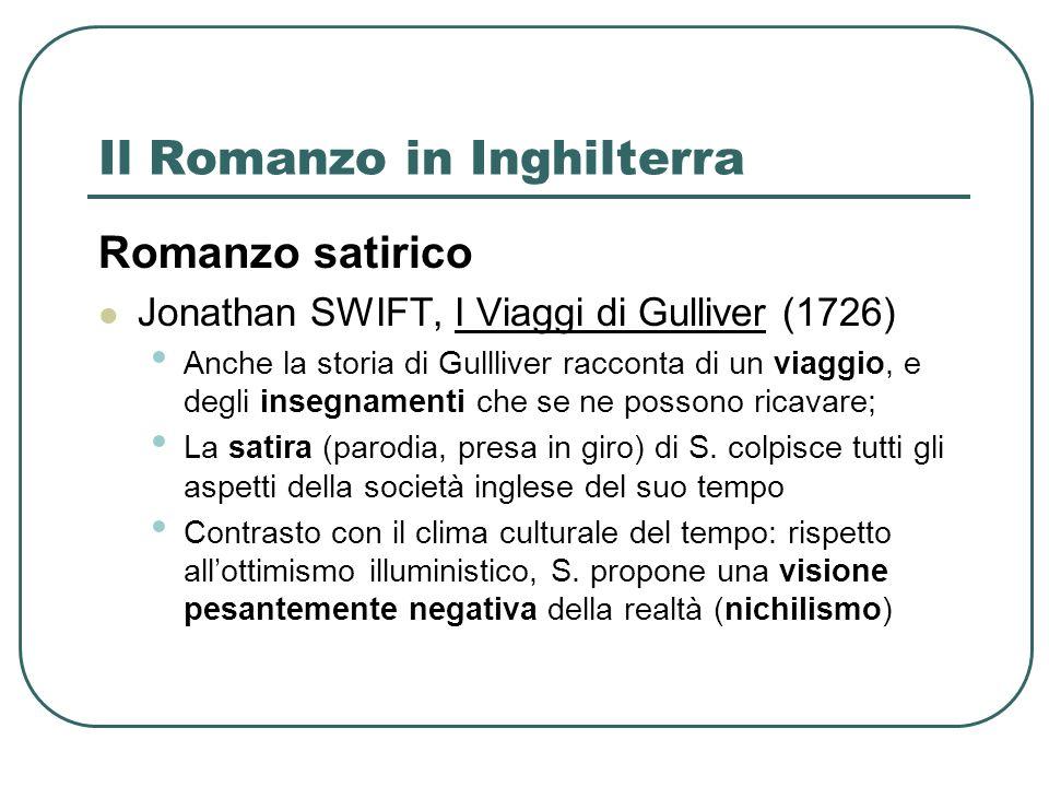 Il Romanzo in Inghilterra Romanzo satirico Jonathan SWIFT, I Viaggi di Gulliver (1726) Anche la storia di Gullliver racconta di un viaggio, e degli insegnamenti che se ne possono ricavare; La satira (parodia, presa in giro) di S.