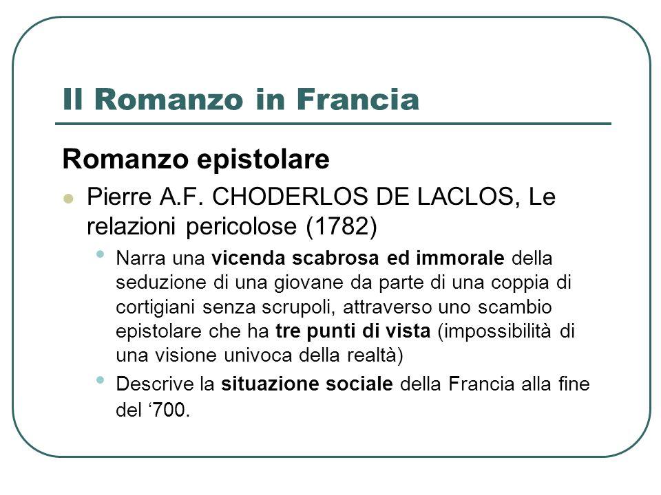 Il Romanzo in Francia Romanzo epistolare Pierre A.F.