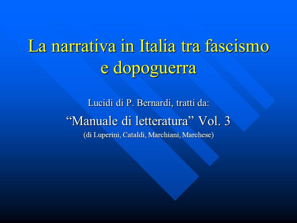 La narrativa in Italia tra fascismo e dopoguerra Lucidi di P.