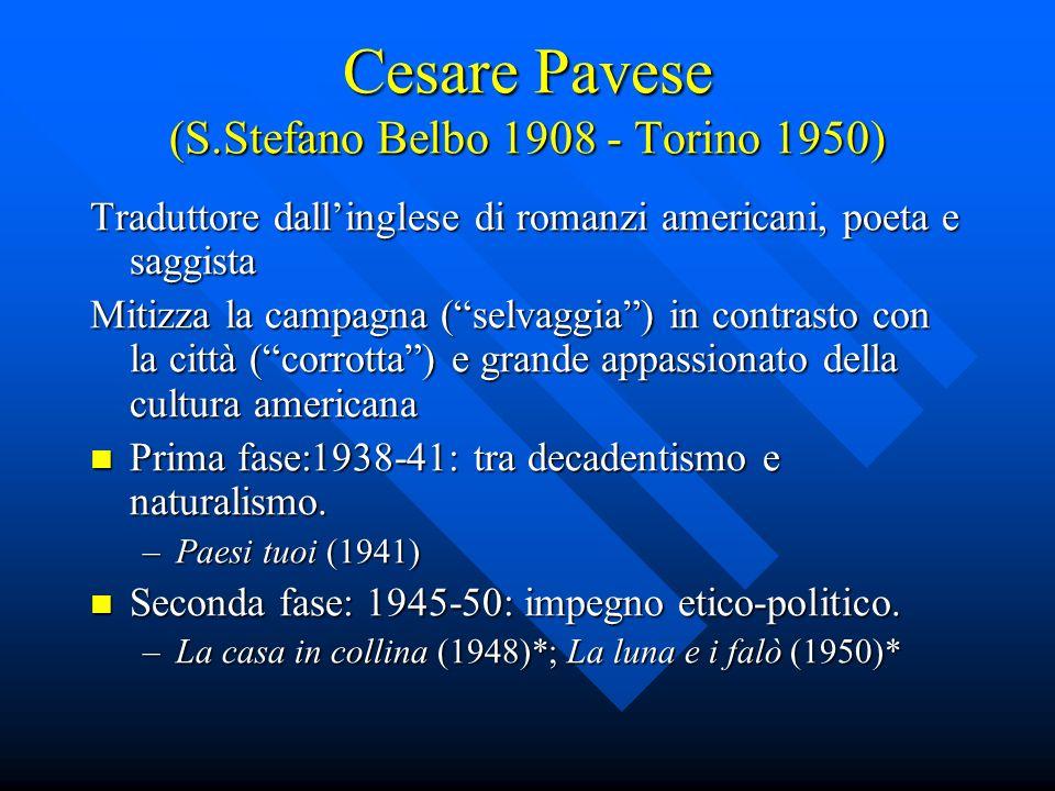 Italo Calvino (1923-1985) Primo periodo - 1945-1964: prima fase: neorealistica (fino ai primi anni 50) prima fase: neorealistica (fino ai primi anni 50) –Il sentiero dei nidi di ragno (47) –Ultimo venne il corvo (49) seconda fase: aperta al realismo ma anche al fantastico seconda fase: aperta al realismo ma anche al fantastico –I nostri antenati (trilogia 52-59) –La giornata di uno scrutatore (63) 1964 anno di svolta (Parigi) 1964 anno di svolta (Parigi)