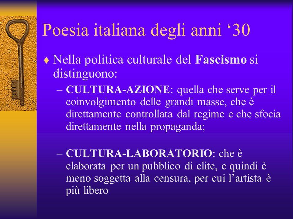 Poesia italiana degli anni 30 Nella politica culturale del Fascismo si distinguono: –CULTURA-AZIONE: quella che serve per il coinvolgimento delle grandi masse, che è direttamente controllata dal regime e che sfocia direttamente nella propaganda; –CULTURA-LABORATORIO: che è elaborata per un pubblico di elite, e quindi è meno soggetta alla censura, per cui lartista è più libero