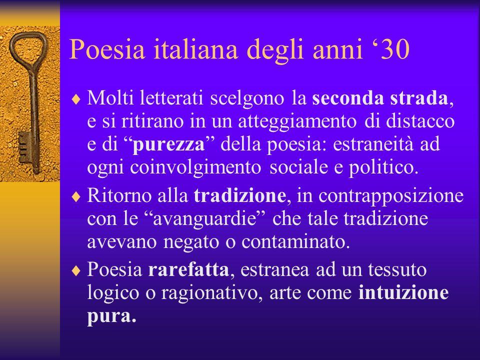 Poesia italiana degli anni 30 Molti letterati scelgono la seconda strada, e si ritirano in un atteggiamento di distacco e di purezza della poesia: estraneità ad ogni coinvolgimento sociale e politico.