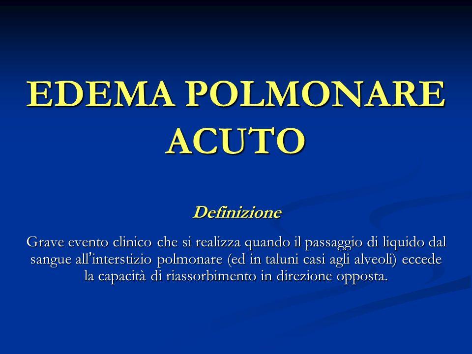 EDEMA POLMONARE ACUTO Definizione Grave evento clinico che si realizza quando il passaggio di liquido dal sangue allinterstizio polmonare (ed in talun