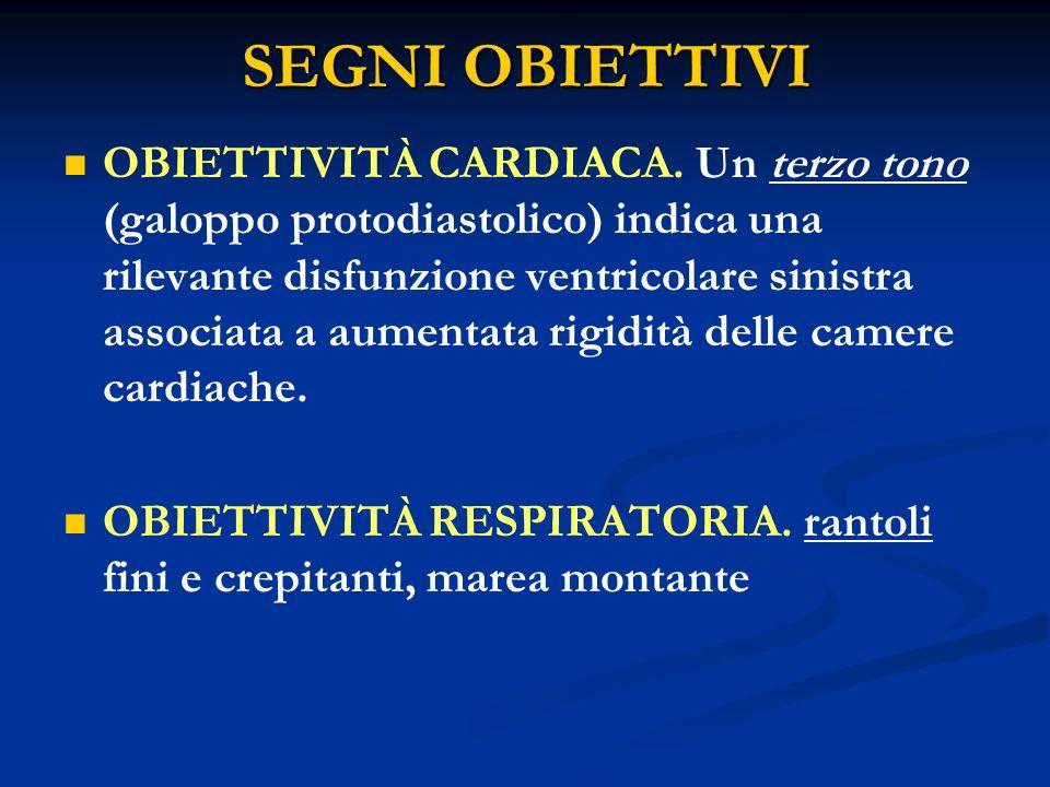 SEGNI OBIETTIVI OBIETTIVITÀ CARDIACA. Un terzo tono (galoppo protodiastolico) indica una rilevante disfunzione ventricolare sinistra associata a aumen