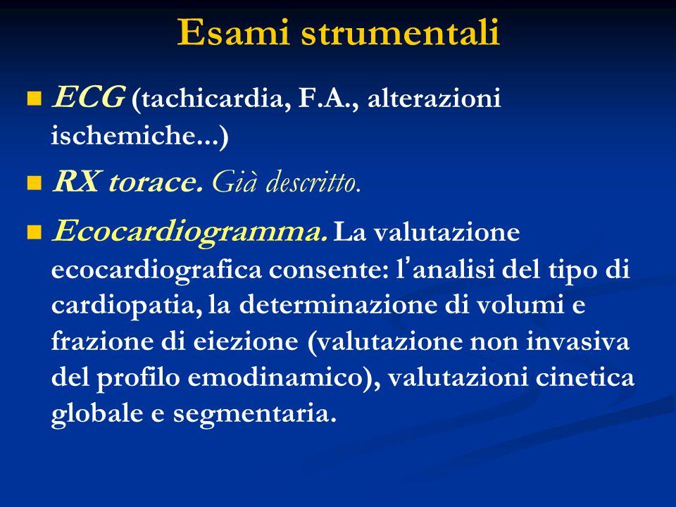 Esami strumentali ECG (tachicardia, F.A., alterazioni ischemiche...) RX torace. Già descritto. Ecocardiogramma. La valutazione ecocardiografica consen