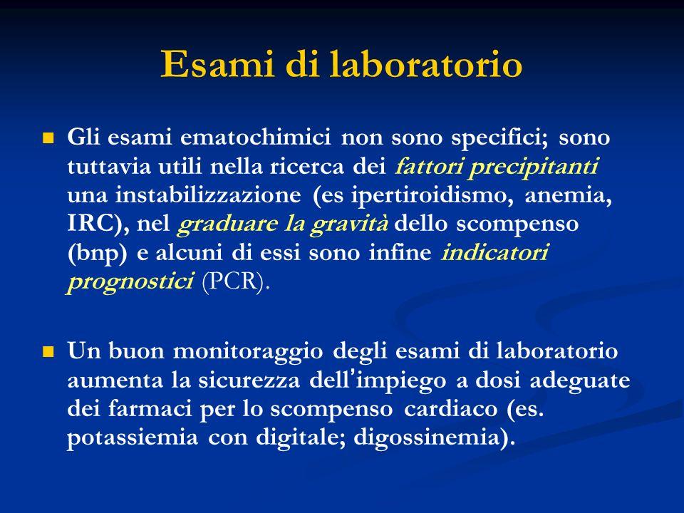 Esami di laboratorio Gli esami ematochimici non sono specifici; sono tuttavia utili nella ricerca dei fattori precipitanti una instabilizzazione (es i