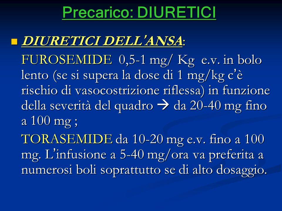 Precarico: DIURETICI DIURETICI DELLANSA: DIURETICI DELLANSA: FUROSEMIDE 0,5-1 mg/ Kg e.v. in bolo lento (se si supera la dose di 1 mg/kg cè rischio di