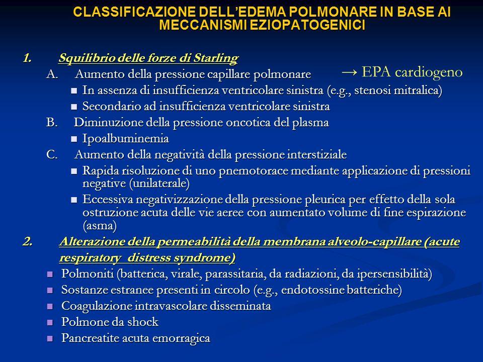 CLASSIFICAZIONE DELLEDEMA POLMONARE IN BASE AI MECCANISMI EZIOPATOGENICI 1. Squilibrio delle forze di Starling A. Aumento della pressione capillare po