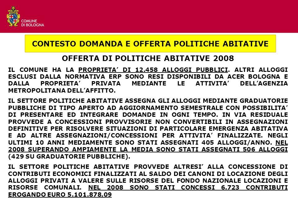OFFERTA DI POLITICHE ABITATIVE 2008 IL COMUNE HA LA PROPRIETA DI 12.458 ALLOGGI PUBBLICI.