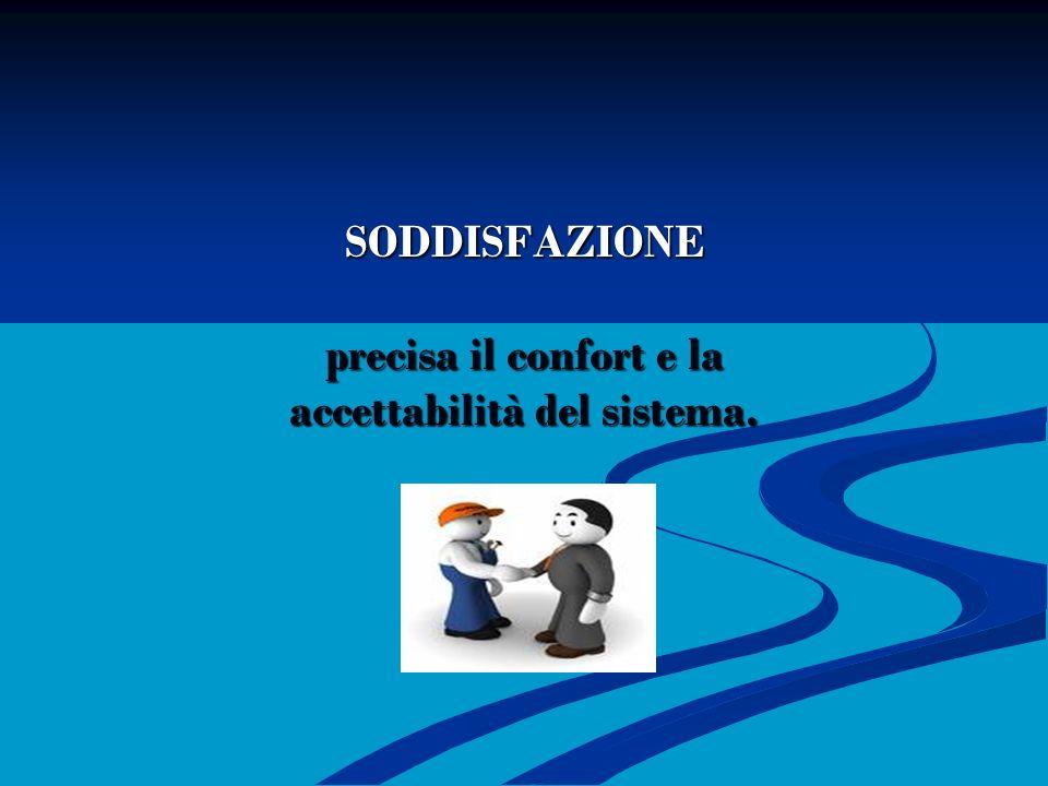 SODDISFAZIONE precisa il confort e la accettabilità del sistema.
