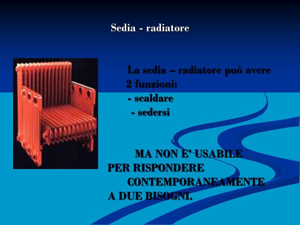 SEDIA – RADIATORE Sedia - radiatore La sedia – radiatore può avere 2 funzioni: - scaldare - sedersi MA NON E USABILE PER RISPONDERE CONTEMPORANEAMENTE