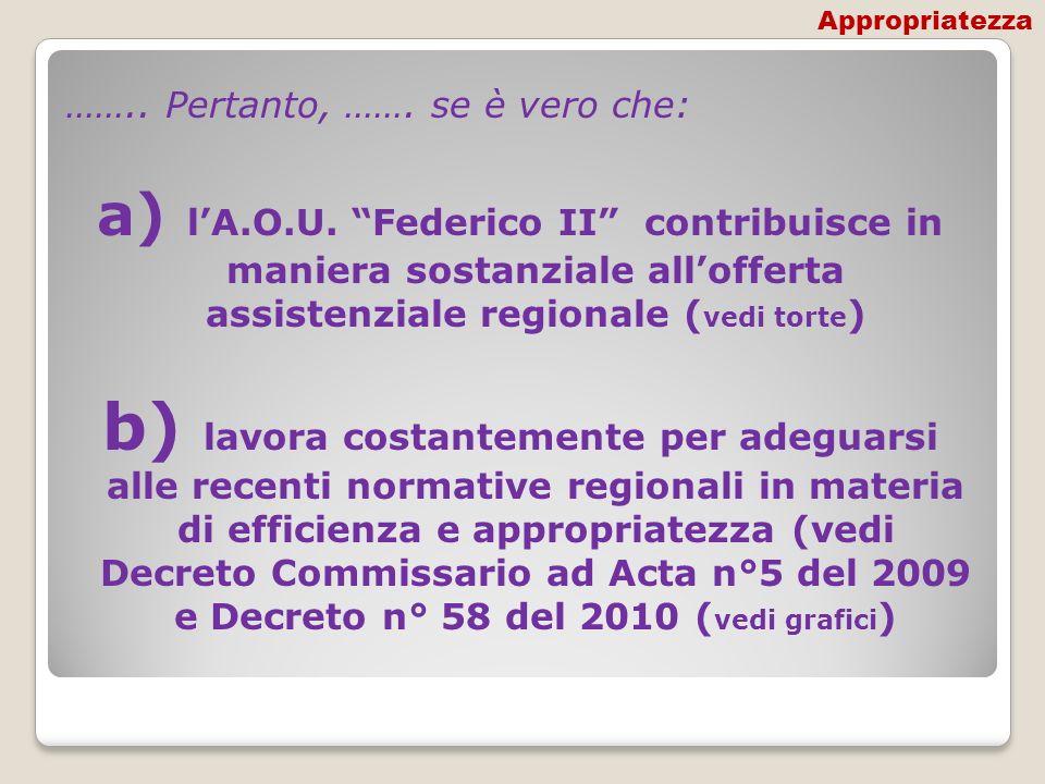 …….. Pertanto, ……. se è vero che: a) lA.O.U. Federico II contribuisce in maniera sostanziale allofferta assistenziale regionale ( vedi torte ) b) lavo