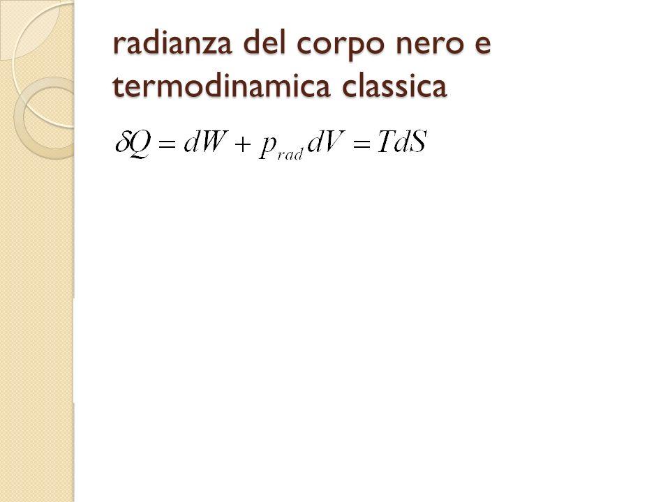 legge di Wien Stefan-Boltzmann e legge dello spostamento legge di Wien dallo studio delleffetto Doppler sulla radiazione incidente alle pareti soluzione (se esiste) in x=x 0 =c/ T, ovvero T=cost=c W.