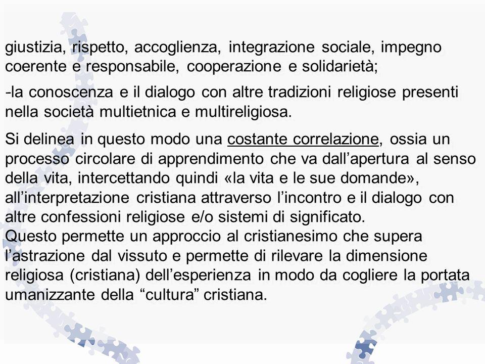 giustizia, rispetto, accoglienza, integrazione sociale, impegno coerente e responsabile, cooperazione e solidarietà; - la conoscenza e il dialogo con