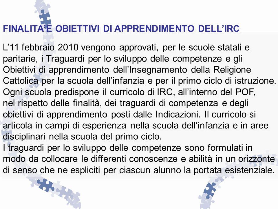 FINALITAE OBIETTIVI DI APPRENDIMENTO DELLIRC L11 febbraio 2010 vengono approvati, per le scuole statali e paritarie, i Traguardi per lo sviluppo delle