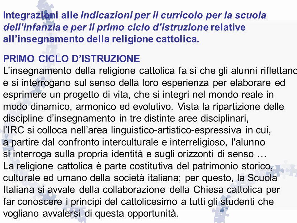Integrazioni alle Indicazioni per il curricolo per la scuola dellinfanzia e per il primo ciclo distruzione relative allinsegnamento della religione ca