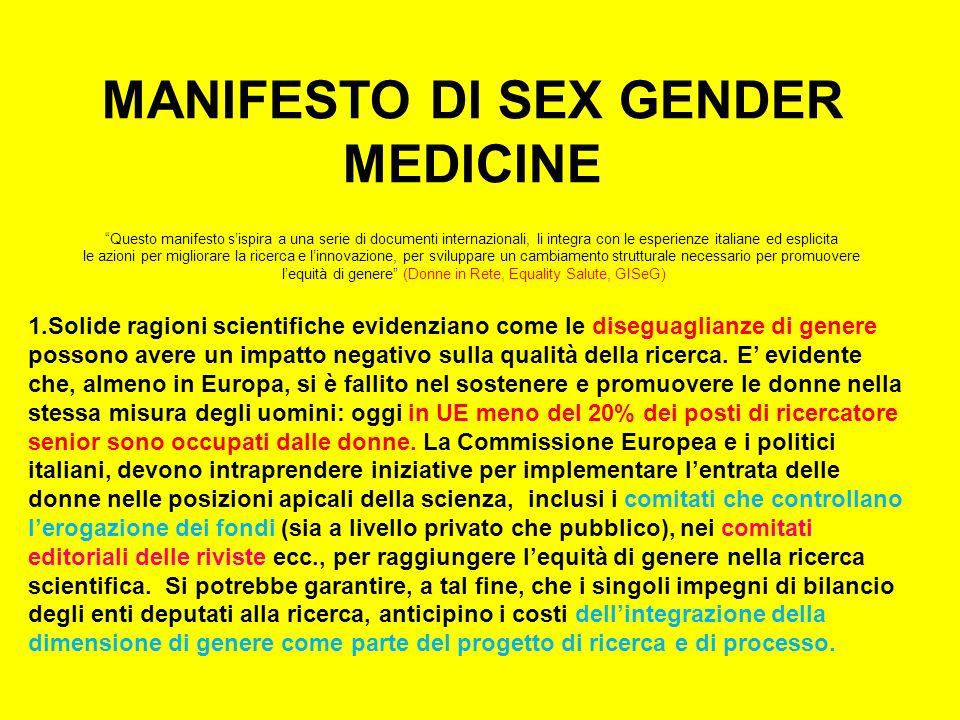 MANIFESTO DI SEX GENDER MEDICINE Questo manifesto sispira a una serie di documenti internazionali, li integra con le esperienze italiane ed esplicita