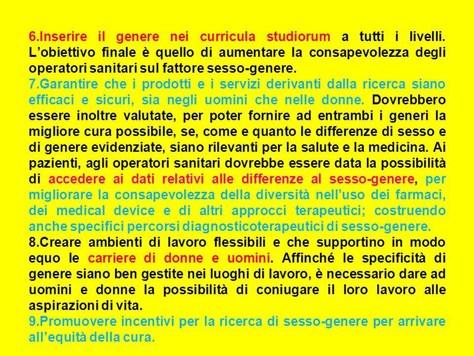 6.Inserire il genere nei curricula studiorum a tutti i livelli.