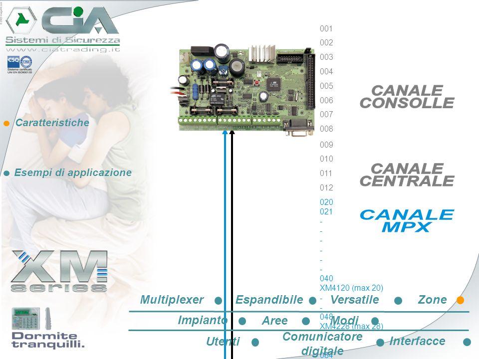 Caratteristiche Esempi di applicazione 020 021 - 040 XM4120 (max 20) - 048 XM4228 (max 28) - 084 XM4364 (max 64) - 148 XM44128 (max 128) 001 002 003 0