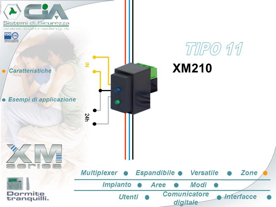 Caratteristiche Esempi di applicazione IN 24h XM210 EspandibileVersatileZone Impianto AreeModi Utenti Comunicatore digitale Interfacce Multiplexer