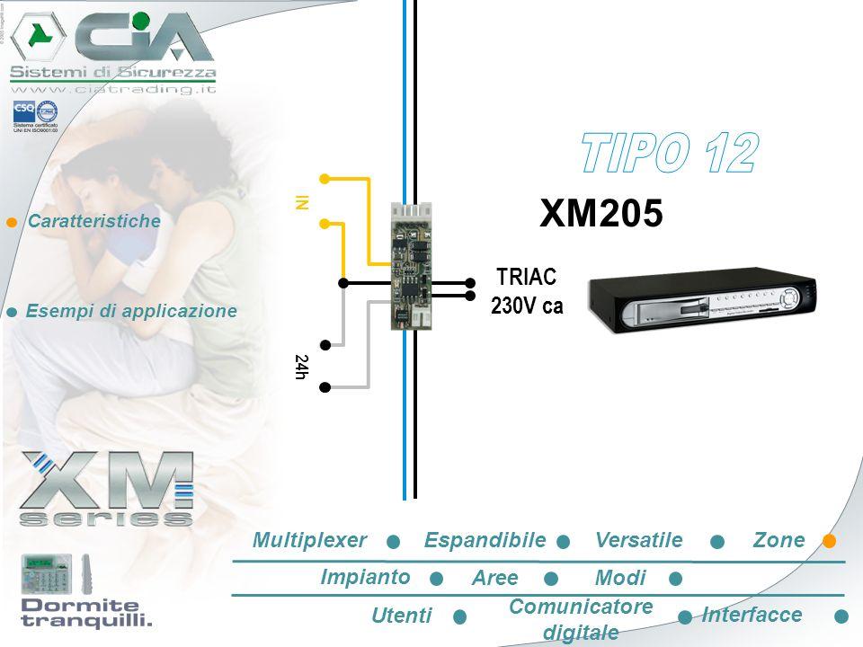 Caratteristiche Esempi di applicazione IN 24h XM205 TRIAC 230V ca EspandibileVersatileZone Impianto AreeModi Utenti Comunicatore digitale Interfacce M