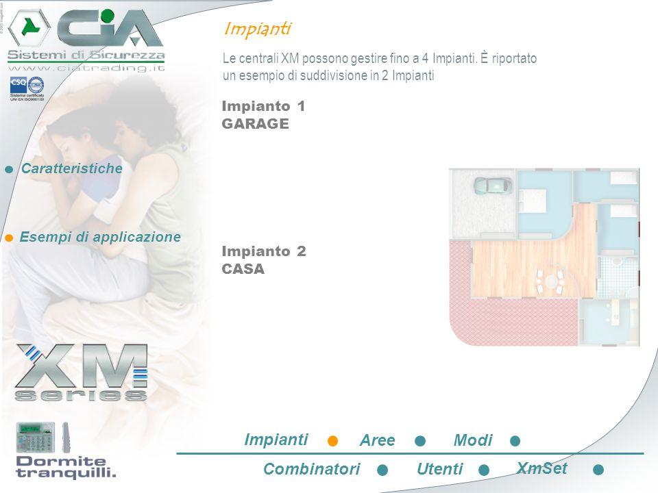 Caratteristiche Esempi di applicazione Impianto 1 GARAGE Impianto 2 CASA Impianti Le centrali XM possono gestire fino a 4 Impianti. È riportato un ese