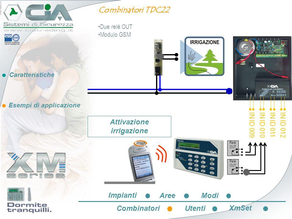 Caratteristiche Esempi di applicazione IN ID 009 IN ID 010 IN ID 011 IN ID 012 Relè OUT Combinatori TDC22 Due relè OUT Modulo GSM Attivazione irrigazi