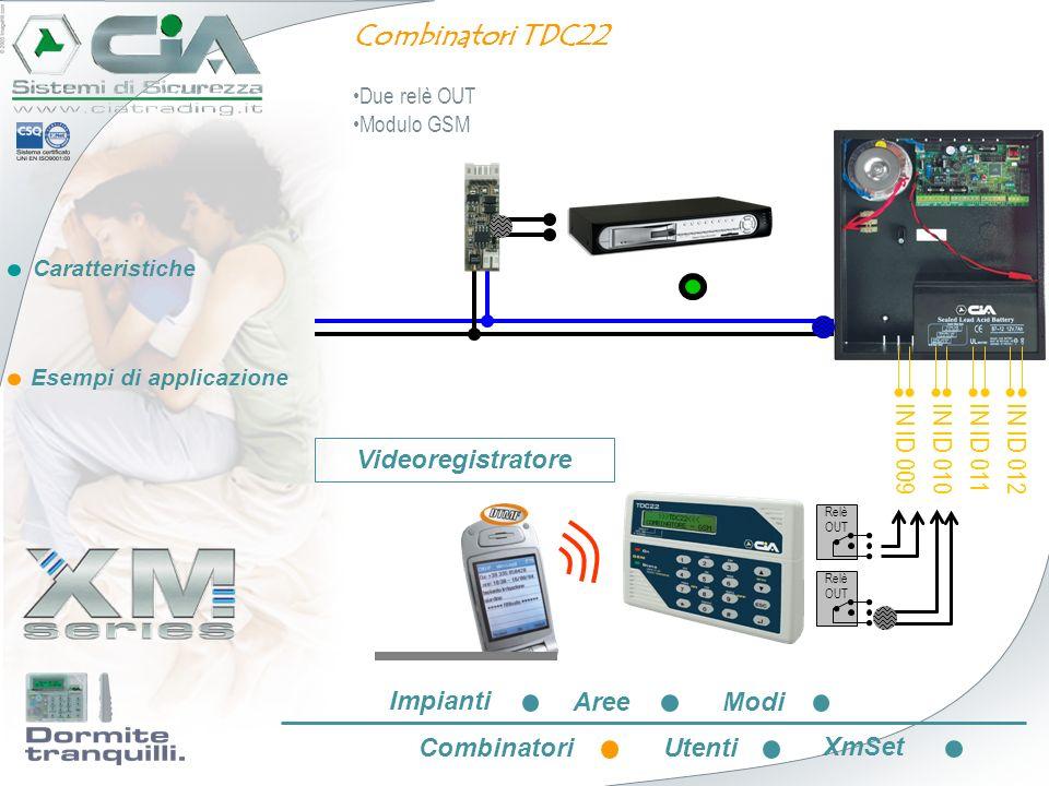 Caratteristiche Esempi di applicazione IN ID 009 IN ID 010 IN ID 011 IN ID 012 Relè OUT Combinatori TDC22 Due relè OUT Modulo GSM Videoregistratore Im