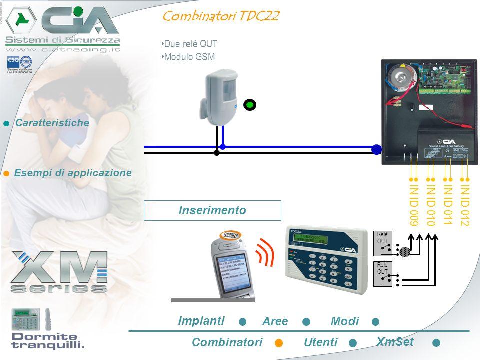 Caratteristiche Esempi di applicazione IN ID 009 IN ID 010 IN ID 011 IN ID 012 Relè OUT Combinatori TDC22 Due relè OUT Modulo GSM Inserimento Impianti