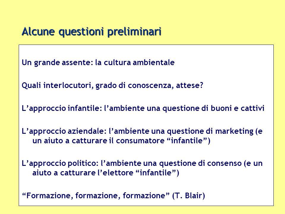 Alcune questioni preliminari Un grande assente: la cultura ambientale Quali interlocutori, grado di conoscenza, attese? Lapproccio infantile: lambient