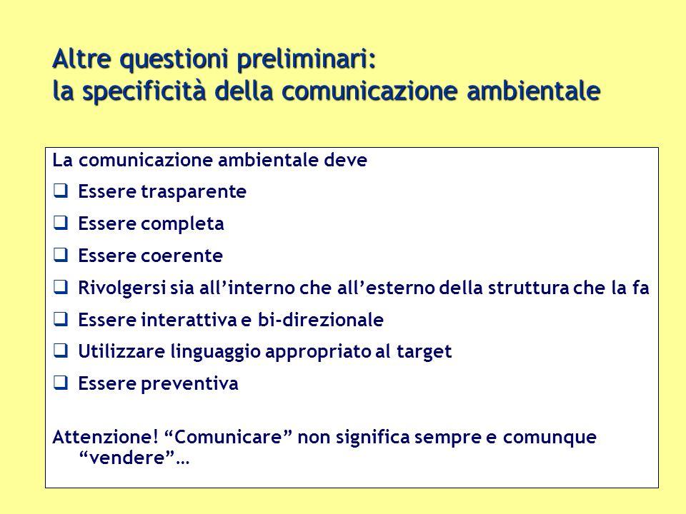 Altre questioni preliminari: la specificità della comunicazione ambientale La comunicazione ambientale deve Essere trasparente Essere completa Essere