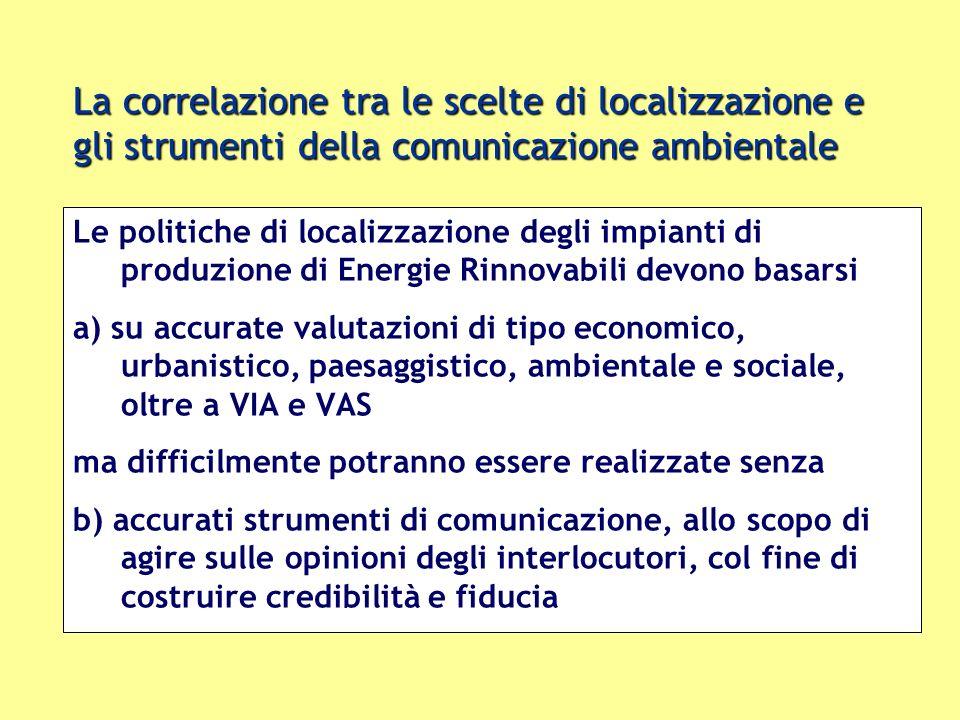 La correlazione tra le scelte di localizzazione e gli strumenti della comunicazione ambientale Le politiche di localizzazione degli impianti di produz