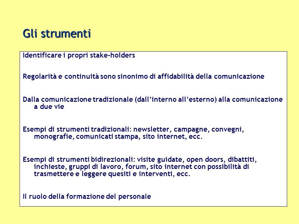Gli strumenti Identificare i propri stake-holders Regolarità e continuità sono sinonimo di affidabilità della comunicazione Dalla comunicazione tradiz