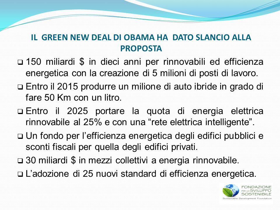 150 miliardi $ in dieci anni per rinnovabili ed efficienza energetica con la creazione di 5 milioni di posti di lavoro. Entro il 2015 produrre un mili