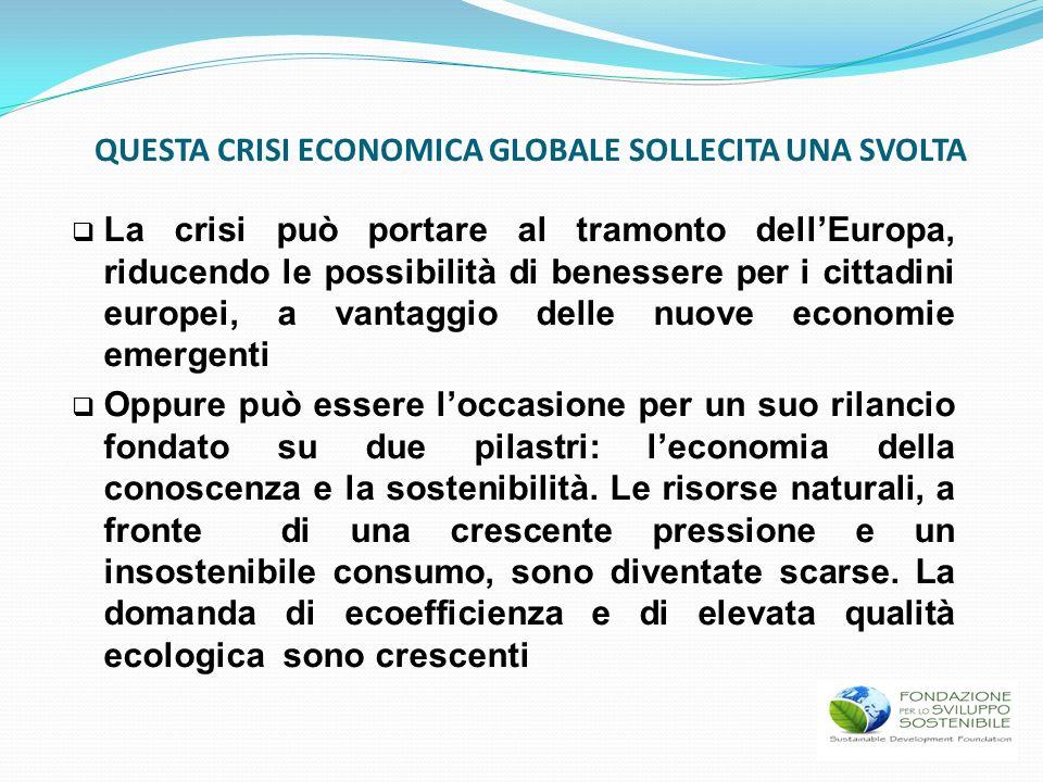 QUESTA CRISI ECONOMICA GLOBALE SOLLECITA UNA SVOLTA La crisi può portare al tramonto dellEuropa, riducendo le possibilità di benessere per i cittadini