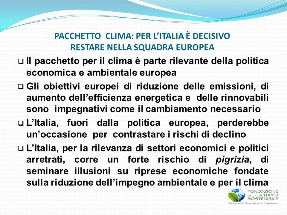 Il pacchetto per il clima è parte rilevante della politica economica e ambientale europea Gli obiettivi europei di riduzione delle emissioni, di aumen