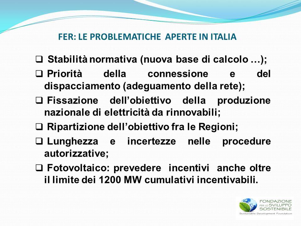 FER: LE PROBLEMATICHE APERTE IN ITALIA Stabilità normativa (nuova base di calcolo …); Priorità della connessione e del dispacciamento (adeguamento del