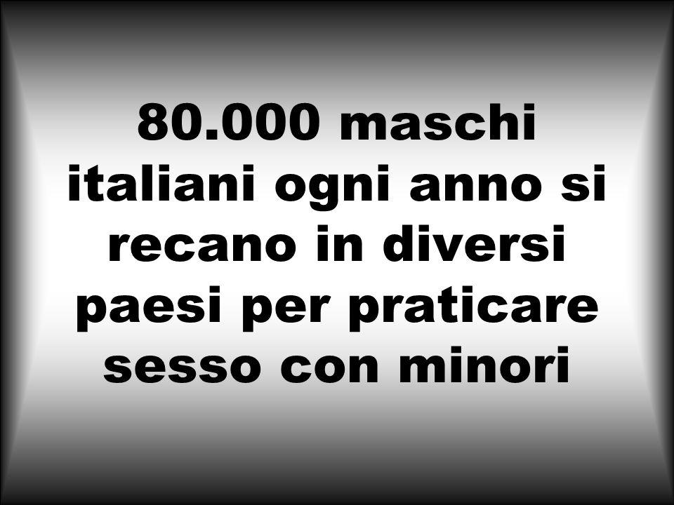 80.000 maschi italiani ogni anno si recano in diversi paesi per praticare sesso con minori