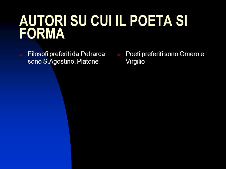 AUTORI SU CUI IL POETA SI FORMA Filosofi preferiti da Petrarca sono S.Agostino, Platone Poeti preferiti sono Omero e Virgilio