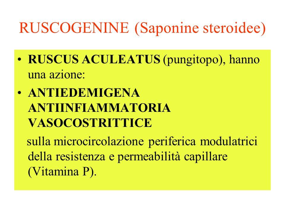 RUSCOGENINE (Saponine steroidee) RUSCUS ACULEATUS (pungitopo), hanno una azione: ANTIEDEMIGENA ANTIINFIAMMATORIA VASOCOSTRITTICE sulla microcircolazione periferica modulatrici della resistenza e permeabilità capillare (Vitamina P).