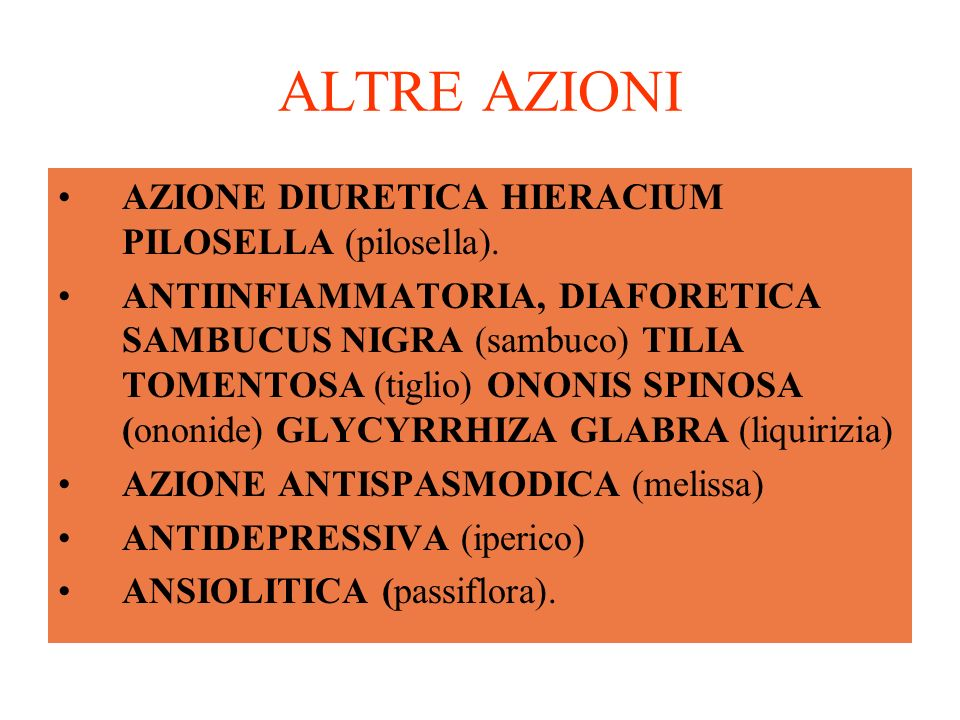 ALTRE AZIONI AZIONE DIURETICA HIERACIUM PILOSELLA (pilosella).