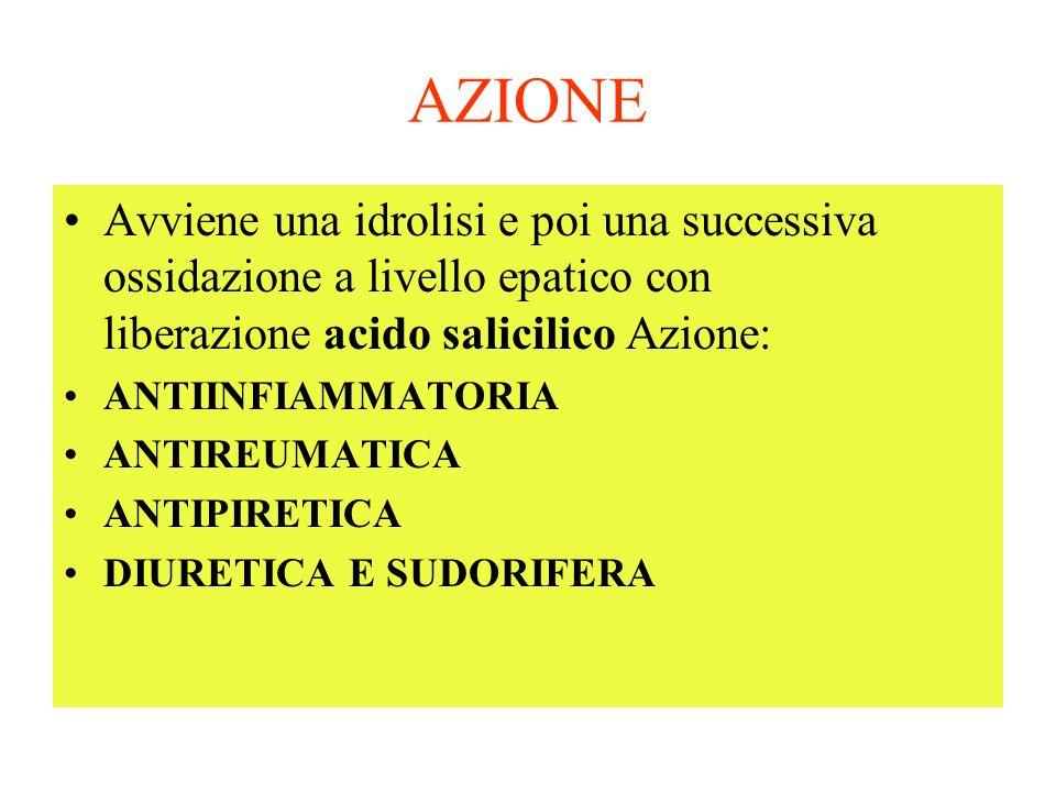 AZIONE Avviene una idrolisi e poi una successiva ossidazione a livello epatico con liberazione acido salicilico Azione: ANTIINFIAMMATORIA ANTIREUMATICA ANTIPIRETICA DIURETICA E SUDORIFERA