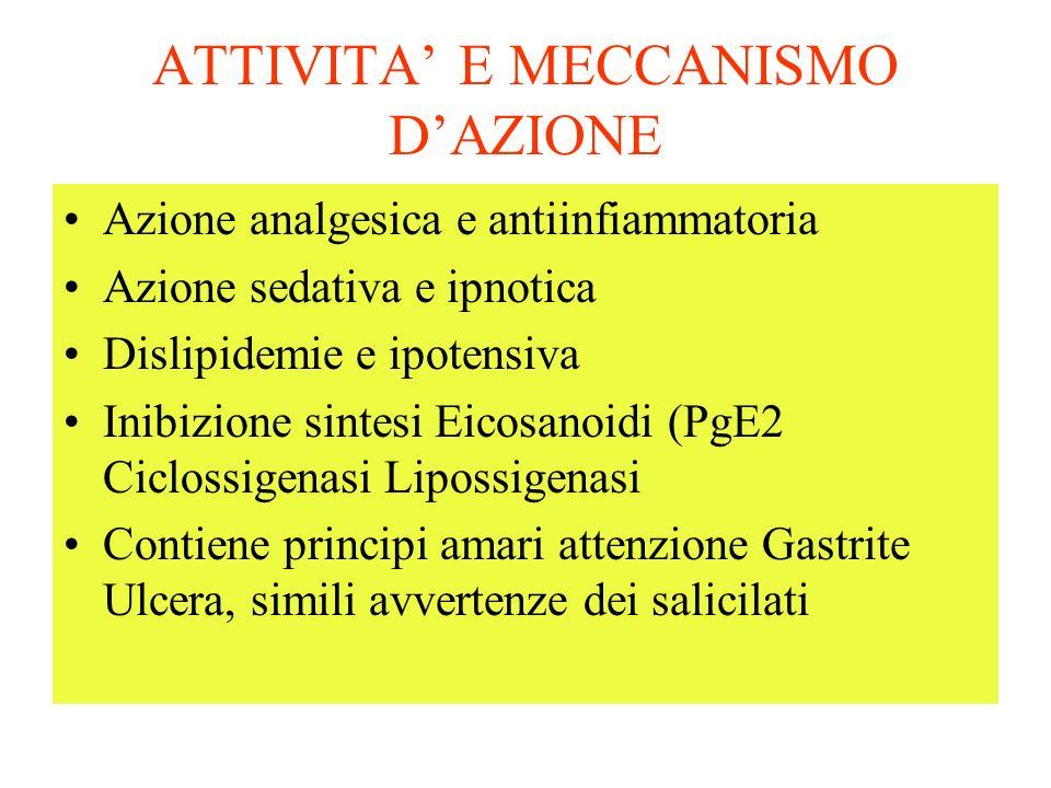 ATTIVITA E MECCANISMO DAZIONE Azione analgesica e antiinfiammatoria Azione sedativa e ipnotica Dislipidemie e ipotensiva Inibizione sintesi Eicosanoidi (PgE2 Ciclossigenasi Lipossigenasi Contiene principi amari attenzione Gastrite Ulcera, simili avvertenze dei salicilati