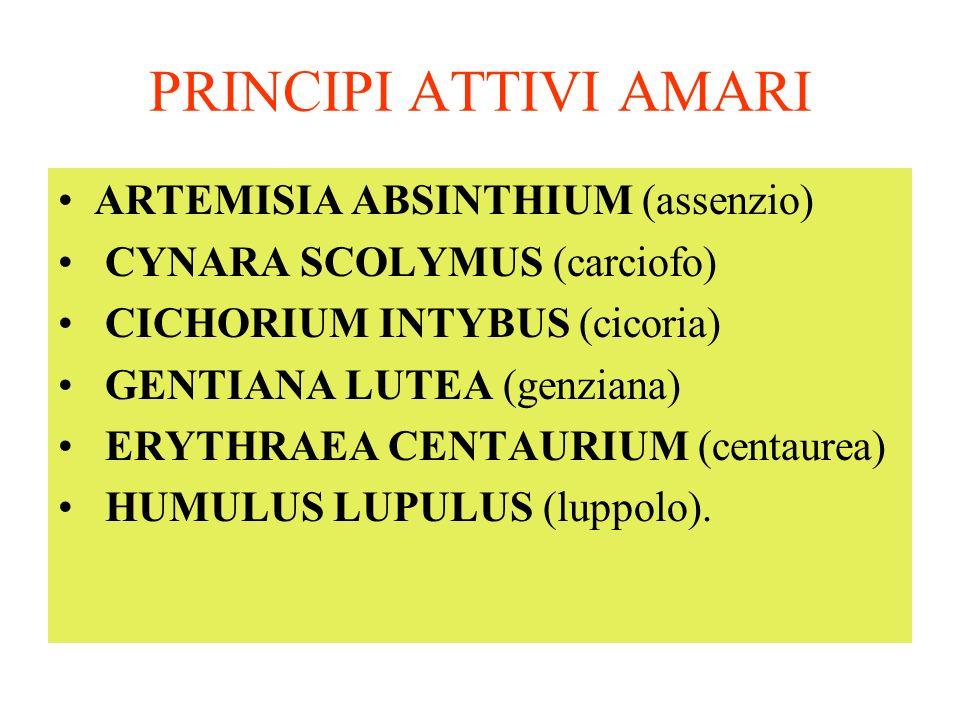 PRINCIPI ATTIVI AMARI ARTEMISIA ABSINTHIUM (assenzio) CYNARA SCOLYMUS (carciofo) CICHORIUM INTYBUS (cicoria) GENTIANA LUTEA (genziana) ERYTHRAEA CENTAURIUM (centaurea) HUMULUS LUPULUS (luppolo).